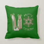 Merry Christmas Holly Stiletto Shoes Art Pillow