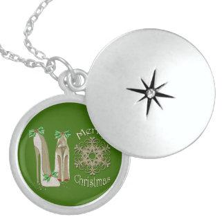 Merry Christmas Holly Stiletto Snowflake Art Necklace