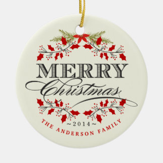 Merry Christmas Holly Typography Photo Ornament