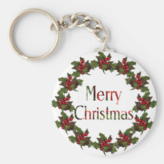 Merry Christmas: Holly Wreath, Pine Cones: Art Basic Round Button Keychain