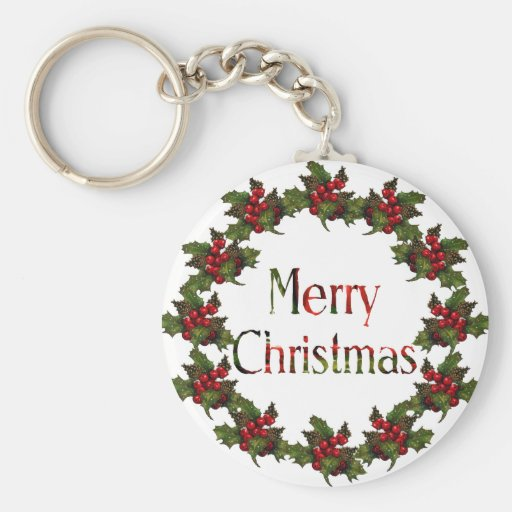 Merry Christmas: Holly Wreath, Pine Cones: Art Keychains