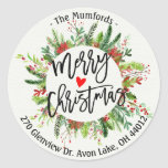 "Merry Christmas Holly Wreath Return Address Labels<br><div class=""desc"">Merry Christmas Calligraphy Typography Script with Holly Floral Wreath Return Address Labels Templates.
