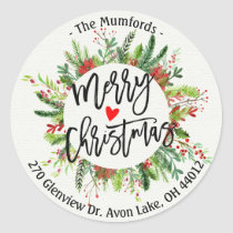 Merry Christmas Holly Wreath Return Address Labels