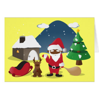 Merry Christmas Homeboys: Black Santa & Blingin' Card