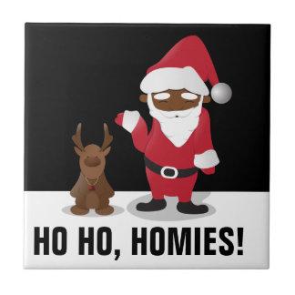 Merry Christmas Homeboys: Black Santa & Blingin' Ceramic Tile