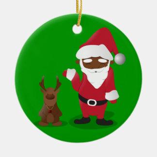 Merry Christmas Homeboys: Black Santa & Blingin' Double-Sided Ceramic Round Christmas Ornament