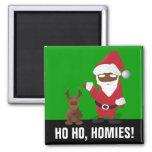 Merry Christmas Homeboys: Black Santa & Blingin' 2 Inch Square Magnet