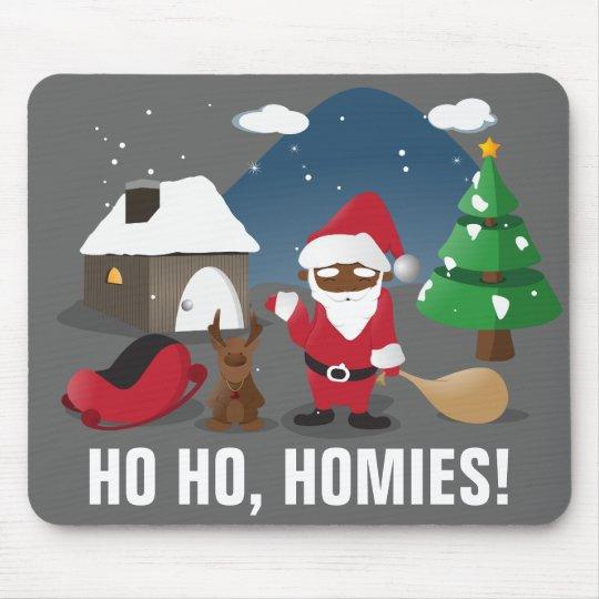 Merry Christmas Homeboys: Black Santa & Blingin' Mouse Pad