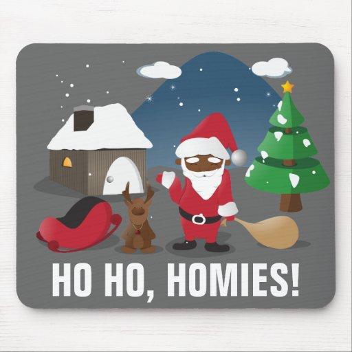 Merry Christmas Homeboys: Black Santa & Blingin' Mouse Pads