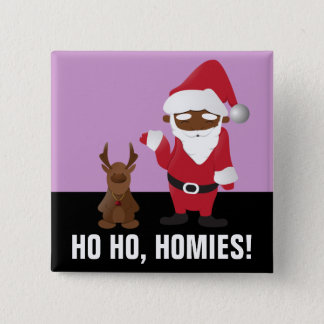 Merry Christmas Homeboys: Black Santa & Blingin' Pinback Button
