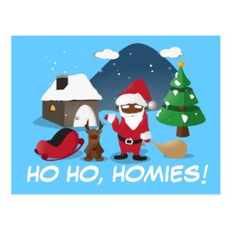 Merry Christmas Homeboys: Black Santa & Blingin' Postcard