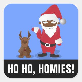 Merry Christmas Homeboys: Black Santa & Blingin' Square Sticker
