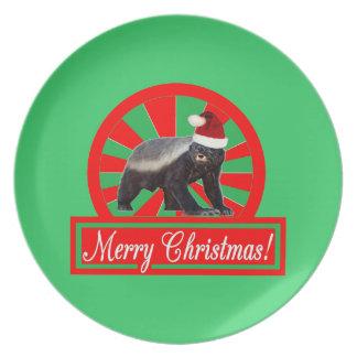 Merry Christmas Honey Badger Plate
