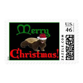 MERRY CHRISTMAS HONEY BADGER POSTAGE STAMP