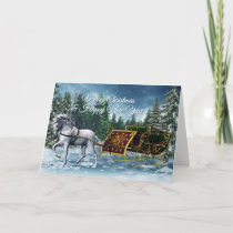 Merry Christmas Horse Sleigh Greeting Card
