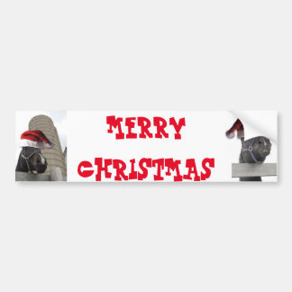 Merry Christmas Horse with Santa Hat Bumper Sticker