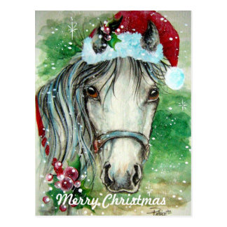 Merry Christmas Horse with Santa Hat  Postcard