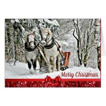 Merry Christmas Horses Pulling Sleigh Card