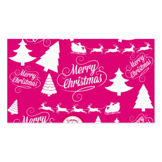Merry Christmas Hot Pink Holiday Xmas Design Double-Sided Standard Business Cards (Pack Of 100)