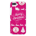 Merry Christmas Hot Pink Holiday Xmas Design iPhone 5 Cases