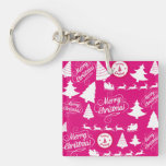 Merry Christmas Hot Pink Holiday Xmas Design Square Acrylic Key Chains
