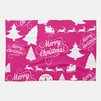 Merry Christmas Hot Pink Holiday Xmas Design Kitchen Towels