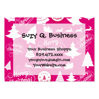 Merry Christmas Hot Pink Holiday Xmas Design Large Business Card