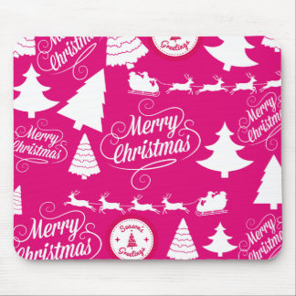 Merry Christmas Hot Pink Holiday Xmas Design Mouse Pad