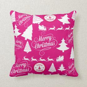 Merry Christmas Hot Pink Holiday Xmas Design Throw Pillows