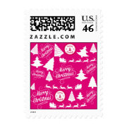 Merry Christmas Hot Pink Holiday Xmas Design Postage