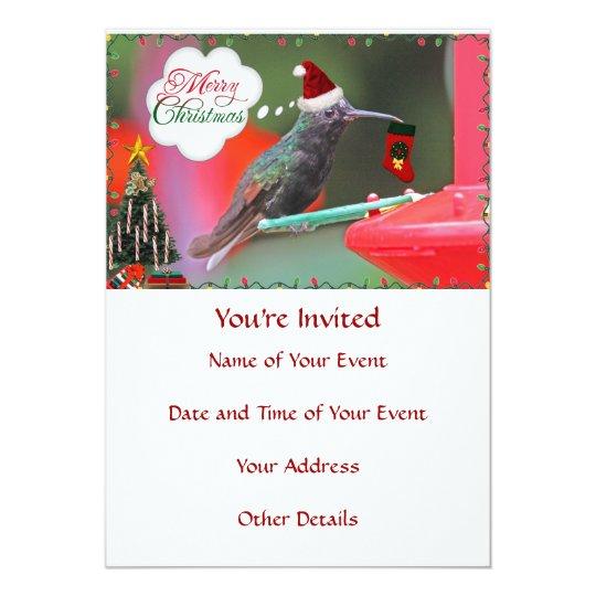 Merry Christmas Hummingbird Card