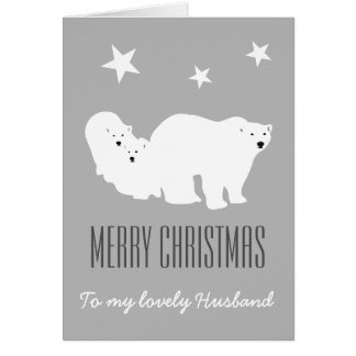 Merry Christmas Husband Polar Bears Card