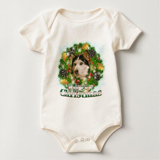 Merry Christmas Husky Baby Bodysuit