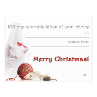 Merry Christmas I.O.U a kitten Postcard