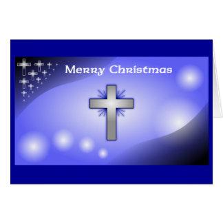 Merry Christmas Ice Blue Glowing Cross Card