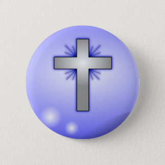 Merry Christmas Ice Blue Glowing Cross Pinback Button