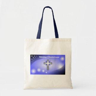 Merry Christmas Ice Blue Glowing Cross Tote Bag