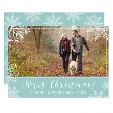 Christmas Themed Merry Christmas Ice Blue & Snow Personalized Photo Card
