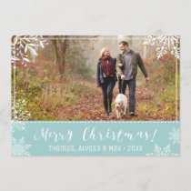 Merry Christmas Ice Blue & Snow Personalized Photo Holiday Card