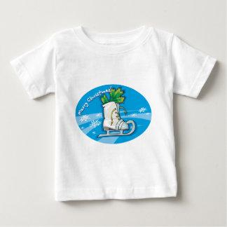 Merry Christmas Ice Skates Baby T-Shirt