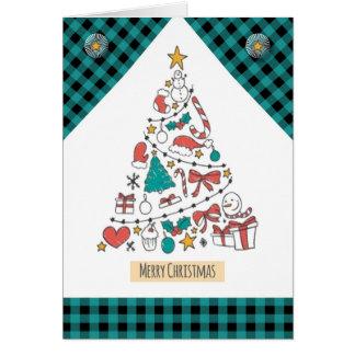 Merry Christmas Icon Tree Greeting Card
