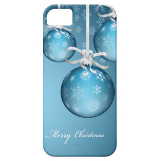 merry christmas icy blue lovely xmas balls iPhone SE/5/5s case