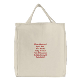 Merry Christmas! in 6 languages Embroidered Tote Bag