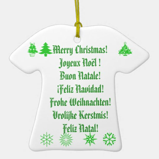 Merry Christmas! in 6 languages Ornament