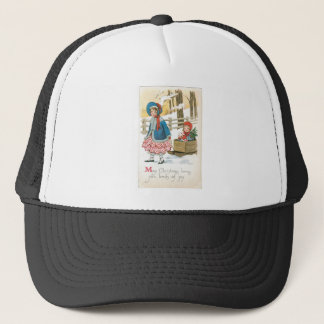 Merry Christmas in a Wooden Sleigh Trucker Hat