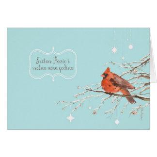 Merry Christmas in Bosnian, red cardinal bird Greeting Card