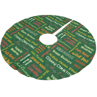 Merry Christmas in Different Languages Brushed Polyester Tree Skirt