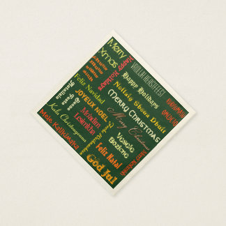 Merry Christmas in Different Languages Paper Napkin