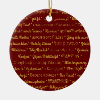 Merry Christmas in Foreign Languages Ceramic Ornament