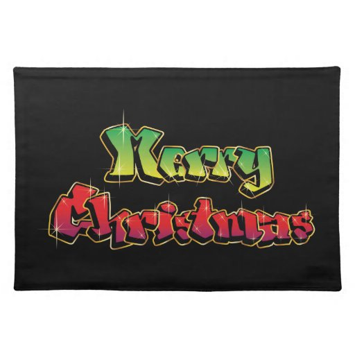 Merry Christmas In Graffiti Placemats Zazzle